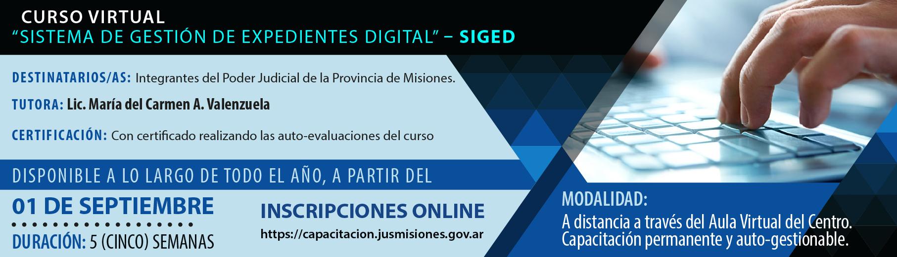 """Curso Virtual """"Sistema de Gestión de Expedientes Digital – SIGED"""