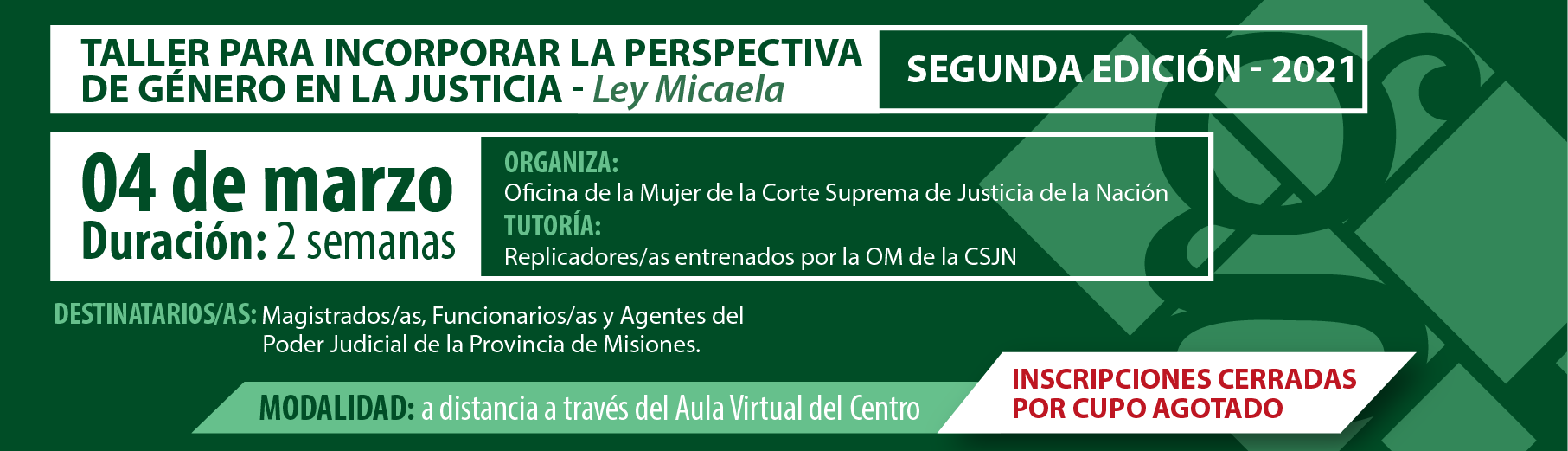 Taller para incorporar la perspectiva de género en la Justicia – Ley Micaela- SEGUNDA EDICIÓN 2021