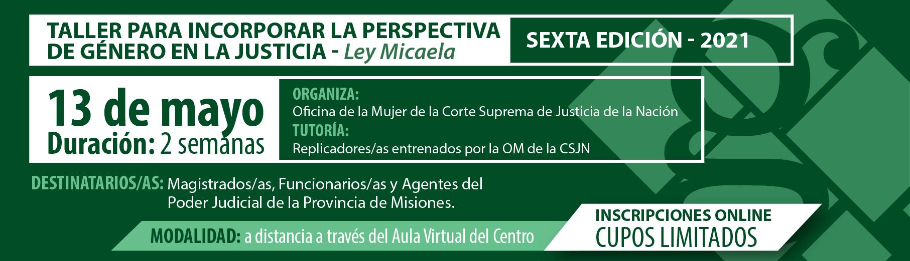 Taller para incorporar la perspectiva de género en la Justicia – Ley Micaela- SEXTA EDICIÓN 2021