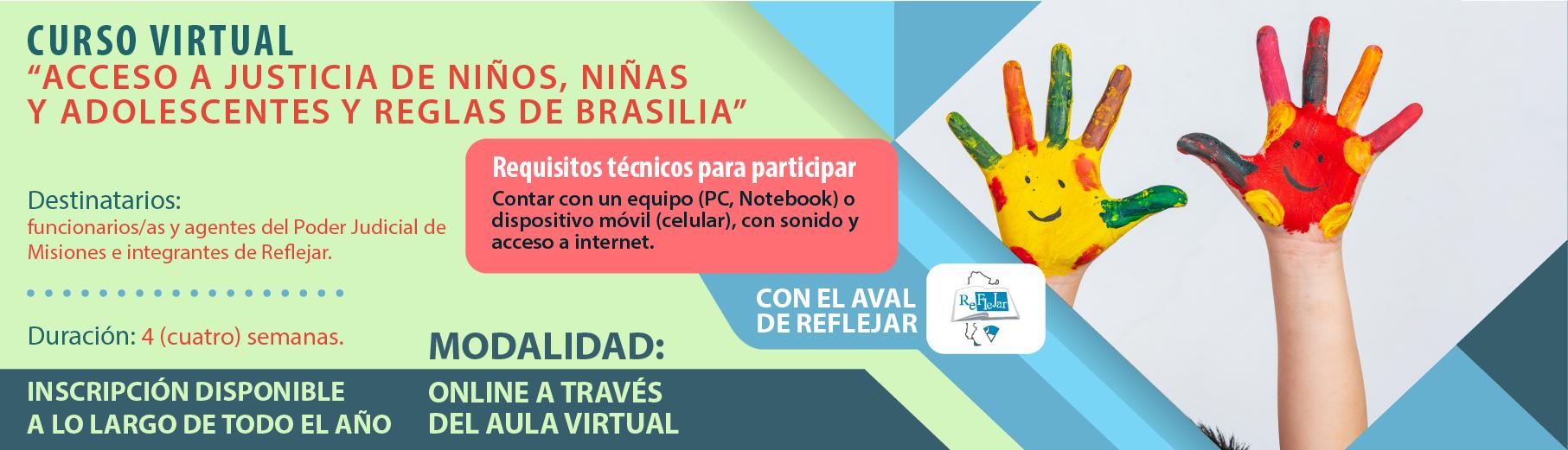 """Curso Virtual """"Acceso a Justicia de Niños, Niñas y Adolescentes y Reglas de Brasilia"""""""