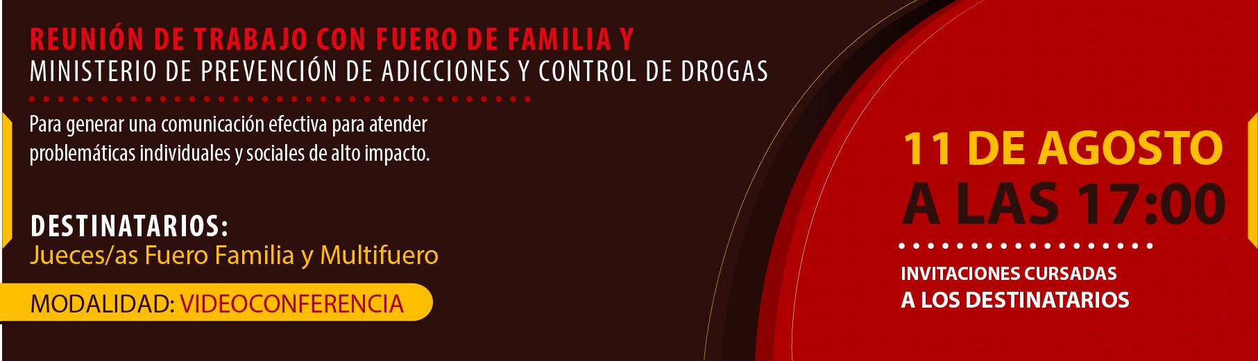 REUNIÓN DE TRABAJO CON FUERO DE FAMILIA Y MINISTERIO DE PREVENCIÓN DE ADICCIONES Y CONTROL DE DROGAS