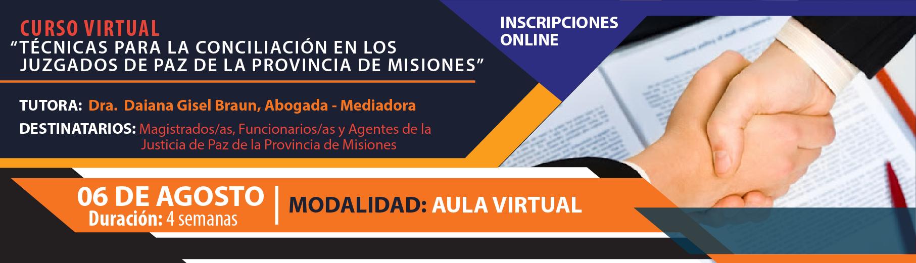 Curso Virtual Técnicas para la Conciliación en los Juzgados de Paz de la Provincia de Misiones