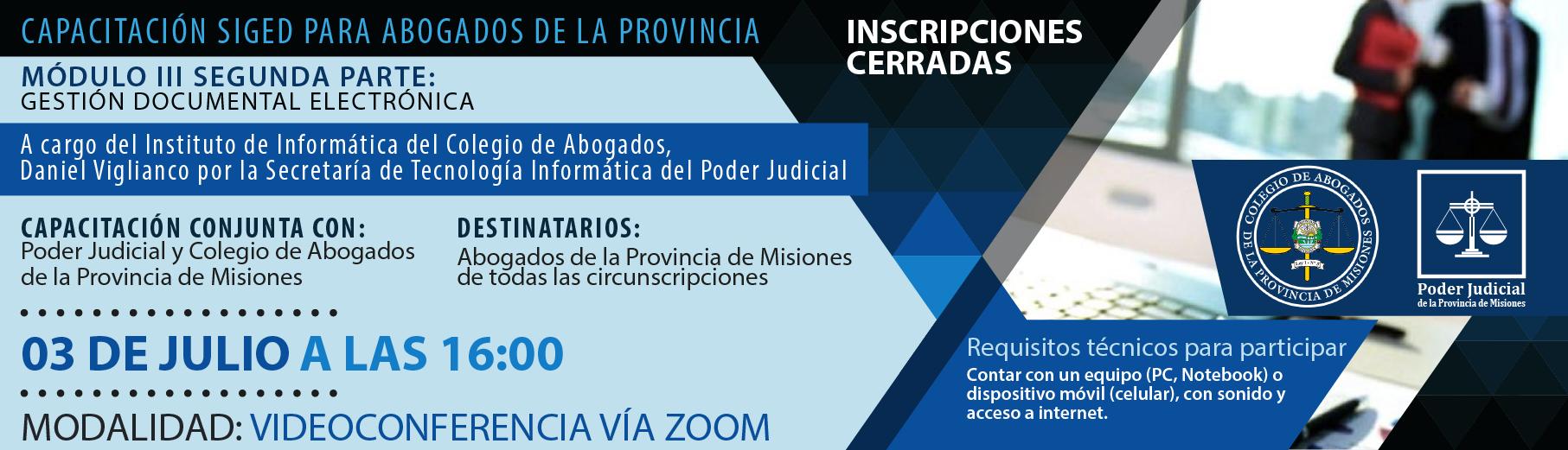 Capacitación SIGED para abogados de la provincia - Módulo III Segunda parte: Gestión Documental Electrónica