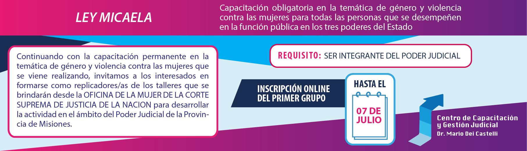 Inscripción para formarse como replicadores/as de la OFICINA DE LA MUJER DE LA CSJN