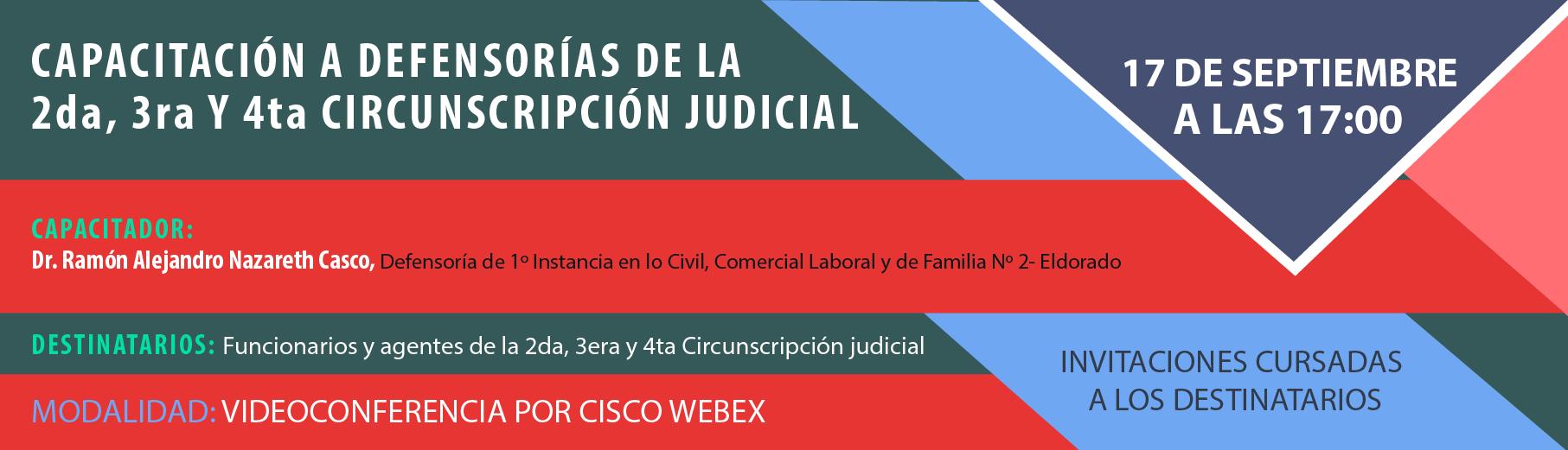 Capacitación a Defensorías de la 2da, 3era y 4ta Circunscripción Judicial